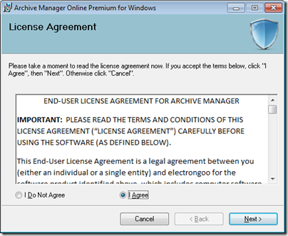 Figure 3 - Archive Manager license agreement