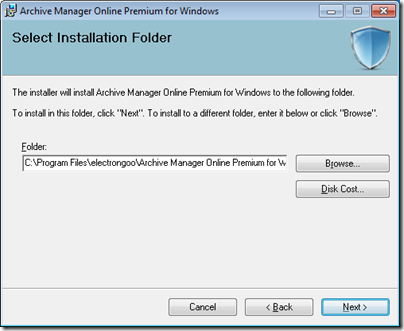 Figure 4 - Archive Manager installation folder