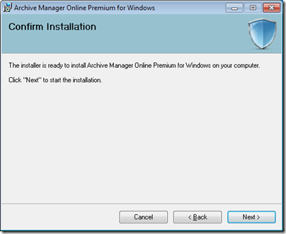 Figure 5 - Archive Manager installation information gathered and ready