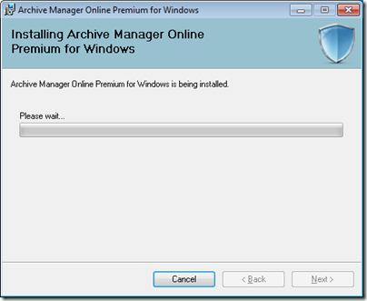 Figure 6 - Archive Manager installation progress