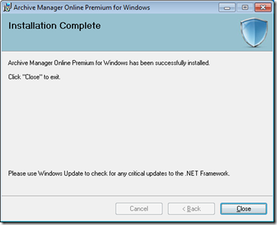 Figure 7 - Archive Manager installation complete