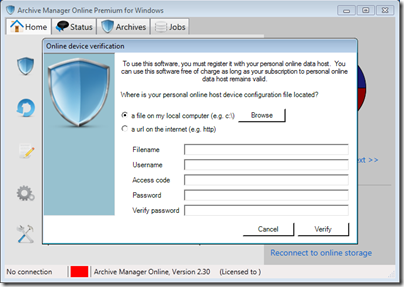 Figure 8 - Archive Manager OBH device verification