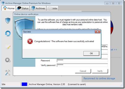 Figure 9 - Archive Manager device verification complete