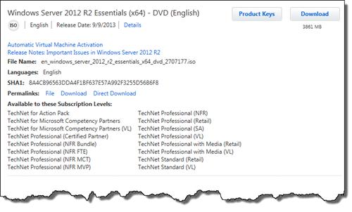 Windows Server 2012 R2 Essentials on TechNet