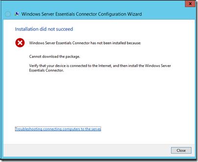 WS2012e Connector Error Message