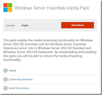 Windows Server Essentials Media Pack Released