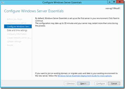 Configure WS Essentials Screen