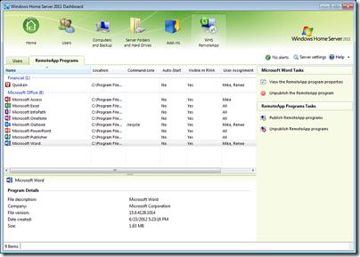 WHS RemoteApp 2011 - RemoteApp Programs Tab