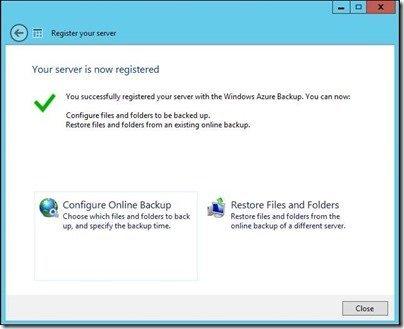 Microsoft Azure Server Registered
