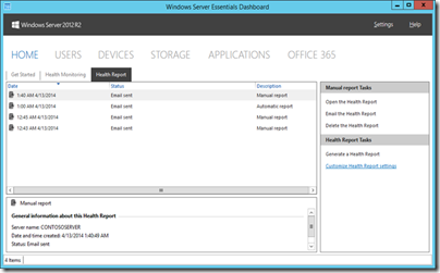 How To Configure Health Report in WS2012 R2 Essentials