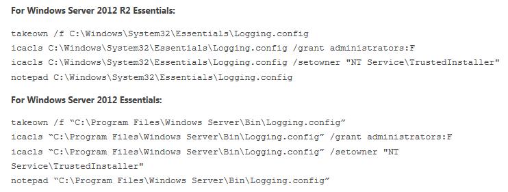 Enable Verbose Logging for Windows Server 2012 R2 Essentials