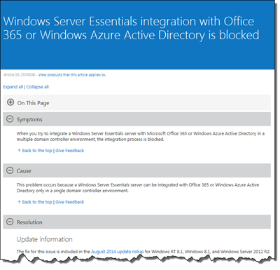 Office 365 and Windows Azure Active Directory can be enabled in a multi DC environment