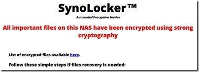 SynoLocker Tweet