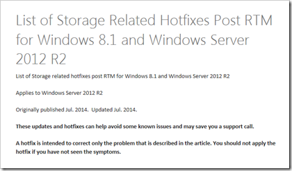 Storage Related Hotfixes Post RTM for WS2012 R2