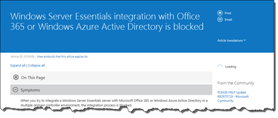 WS2012 R2 Essentials Now Supports Office 365 and Azure AD with Multiple Domain Controllers
