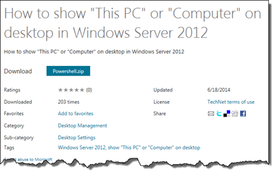 Add This PC or Computer to Your Desktop in Windows Server 2012 Via Powershell