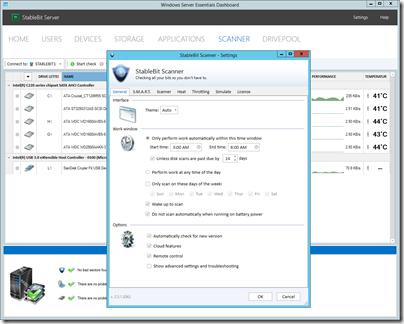 StableBit Scanner v 2.5.1.3062 Settings