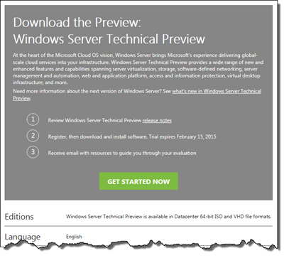 WS Technical Preview TechNet Evaluation