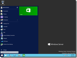 Windows Server 10 Technical Preview Start Menu