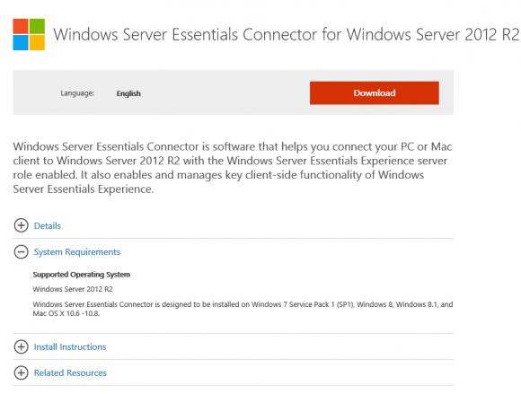 Windows Server Essentials Connector for Windows Server 2012 R2