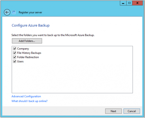 Configure Azure Backup on WS2012 R2 Essentials